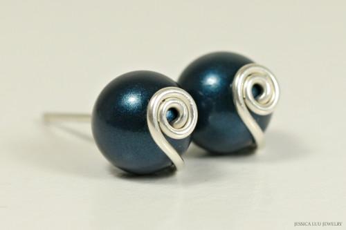 Sterling silver wire wrapped dark blue petrol Swarovski pearl stud earrings handmade by Jessica Luu Jewelry