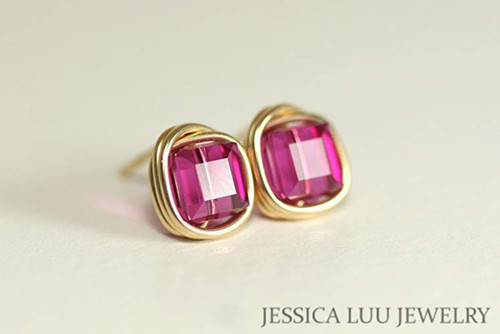 14K yellow gold filled wire wrapped fuchsia pink purple Swarovski crystal cube stud earrings handmade by Jessica Luu Jewelry