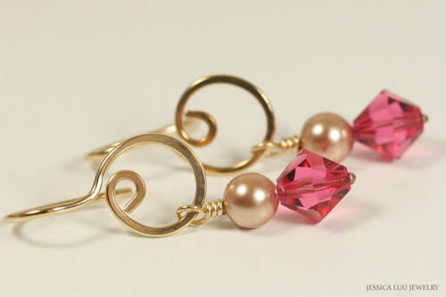 14K yellow gold filled dangle earrings with rose gold pearls and Indian pink crystals handmade by Jessica Luu Jewelry