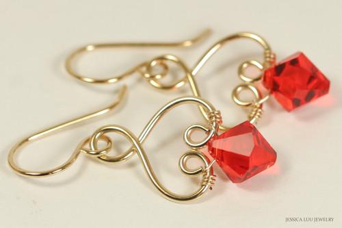 14K yellow gold filled wire wrapped hyacinth orange Swarovski crystal dangle earrings handmade by Jessica Luu Jewelry