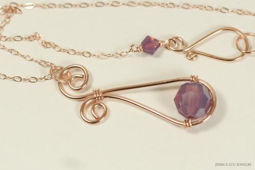 14K rose gold filled wire wrapped cyclamen opal purple Swarovski crystal pendant on chain necklace handmade by Jessica Luu Jewelry