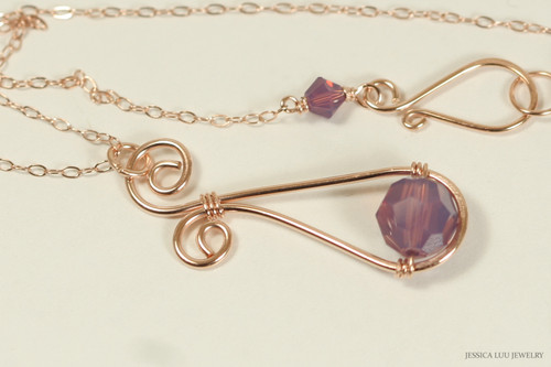 14K rose gold filled wire wrapped cyclamen opal purple crystal pendant on chain necklace handmade by Jessica Luu Jewelry