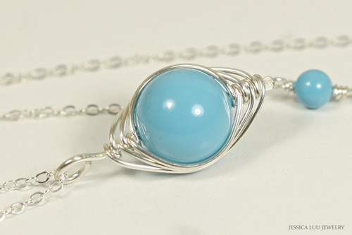 Sterling silver herringbone wire wrapped turquoise blue Swarovski pearl pendant on chain necklace handmade by Jessica Luu Jewelry