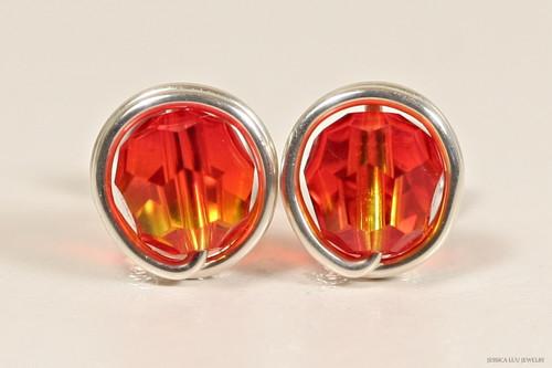 Sterling silver wire wrapped orange yellow fire opal Swarovski crystal stud earrings handmade by Jessica Luu Jewelry