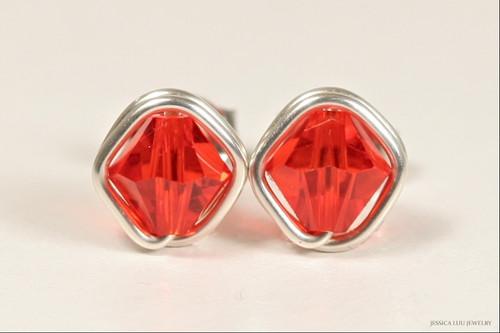 Sterling silver wire wrapped hyacinth orange red Swarovski crystal stud earrings handmade by Jessica Luu Jewelry