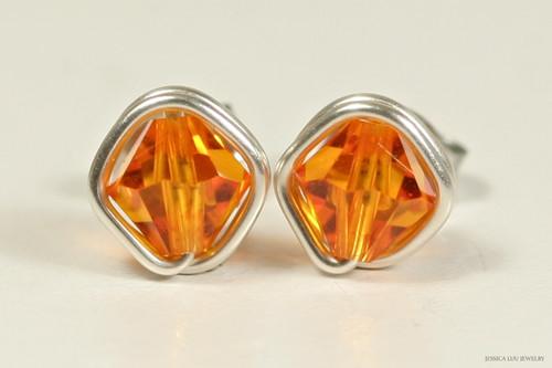 Sterling silver wire wrapped sun orange Swarovski crystal stud earrings handmade by Jessica Luu Jewelry