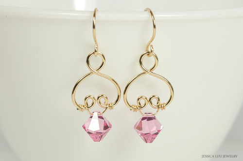 14K yellow gold filled wire wrapped light rose pink Swarovski crystal dangle earrings handmade by Jessica Luu Jewelry