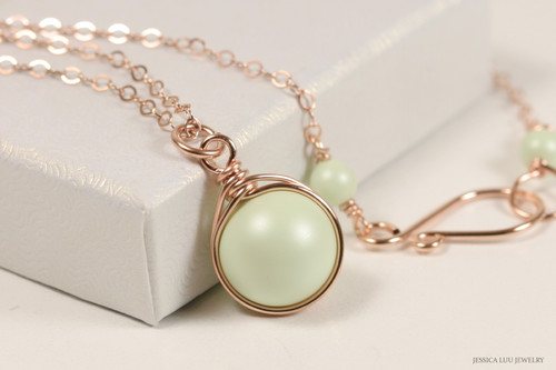 14K rose gold filled wire wrapped pastel light green Swarovski pearl solitaire pendant on chain necklace handmade by Jessica Luu Jewelry