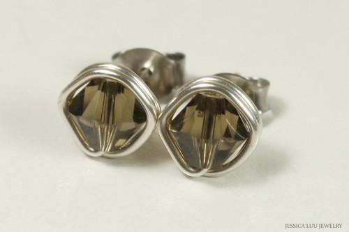 Sterling silver wire wrapped brown grey smoky quartz Swarovski crystal stud earrings handmade by Jessica Luu Jewelry
