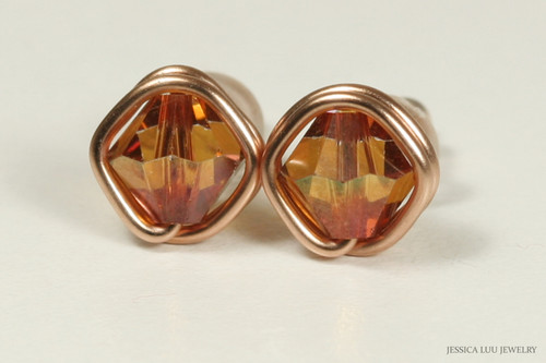 14K rose gold filled wire wrapped copper Swarovski crystal stud earrings handmade by Jessica Luu Jewelry
