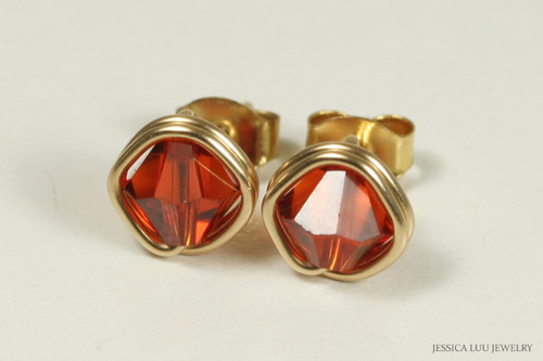 14K yellow gold filled wire wrapped pumpkin spice Indian red crystal stud earrings handmade by Jessica Luu Jewelry