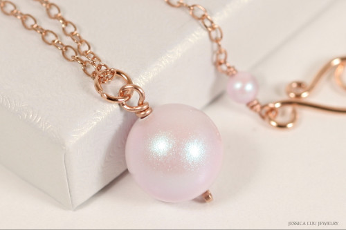 14K rose gold filled wire wrapped iridescent light pink dreamy rose pearl pendant on chain necklace handmade by Jessica Luu Jewelry
