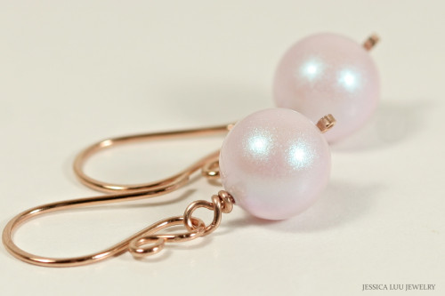 14K rose gold filled wire wrapped iridescent light pink dreamy rose Swarovski pearl dangle earrings handmade by Jessica Luu Jewelry