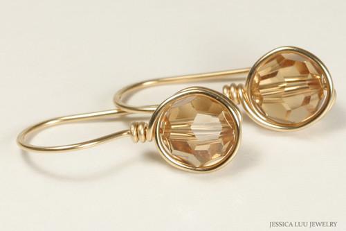 14K yellow gold filled wire wrapped honey brown light Colorado topaz Swarovski crystal drop earrings handmade by Jessica Luu Jewelry
