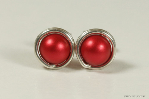 Sterling silver wire wrapped rouge red Swarovski pearl stud earrings handmade by Jessica Luu Jewelry