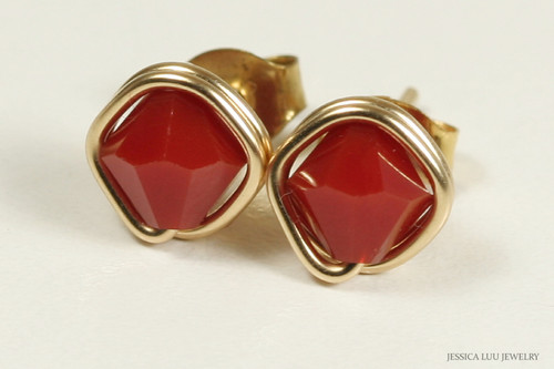 14K yellow gold filled wire wrapped red coral Swarovski crystal stud earrings handmade by Jessica Luu Jewelry