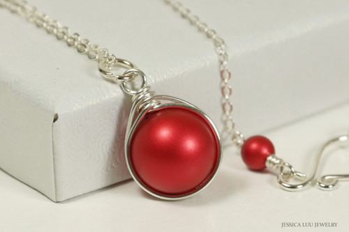 Sterling silver wire wrapped rouge red Swarovski pearl solitaire pendant on chain necklace handmade by Jessica Luu Jewelry