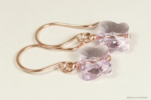 14K rose gold filled wire wrapped light purple lavender violet Swarovski crystal butterfly dangle earrings handmade by Jessica Luu Jewelry