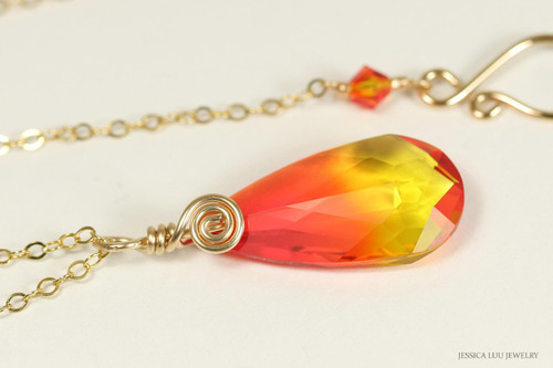 14K yellow gold filled wire wrapped fire opal orange crystal pendant on chain necklace handmade by Jessica Luu Jewelry