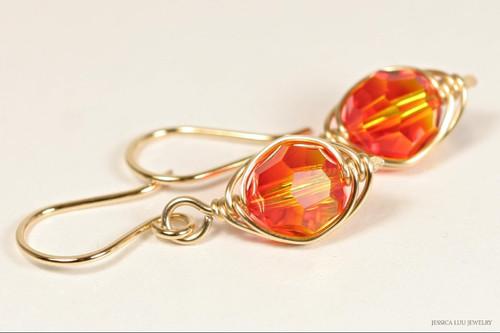 14K yellow gold filled herringbone wire wrapped fire opal orange Swarovski crystal dangle earrings handmade by Jessica Luu Jewelry