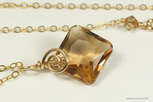 14K yellow gold filled wire wrapped light Colorado topaz Swarovski crystal pendant on chain necklace handmade by Jessica Luu Jewelry