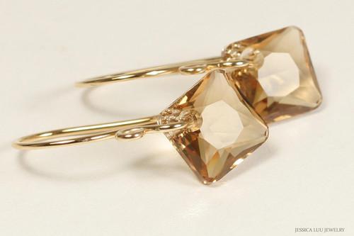 14K yellow gold filled light Colorado topaz Swarovski crystal dangle earrings handmade by Jessica Luu Jewelry