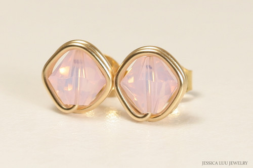 14K yellow gold filled wire wrapped rosewater opal pink crystal stud earrings handmade by Jessica Luu Jewelry