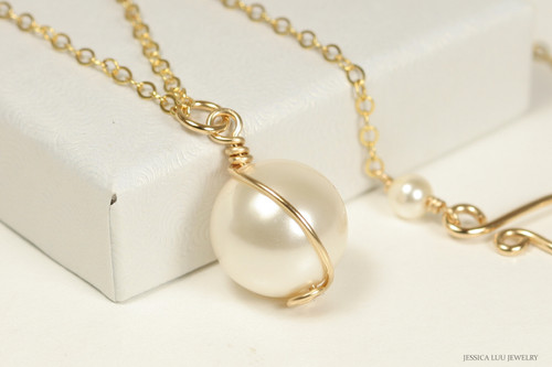 14K yellow gold filled wire wrapped cream ivory Swarovski pearl pendant on chain necklace handmade by Jessica Luu Jewelry