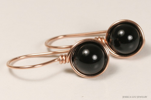 14K rose gold filled wire wrapped mystic black Swarovski pearl drop earrings handmade by Jessica Luu Jewelry