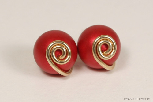 14K yellow old filled wire wrapped rouge red Swarovski pearl stud earrings handmade by Jessica Luu Jewelry