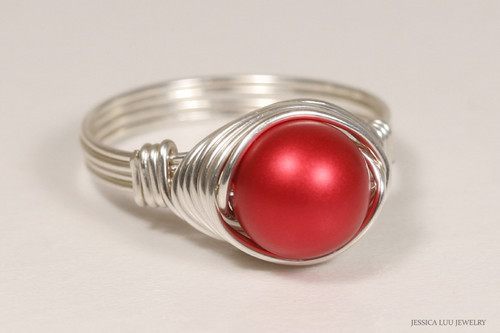 Sterling silver wire wrapped rouge red Swarovski pearl solitaire ring handmade by Jessica Luu Jewelry