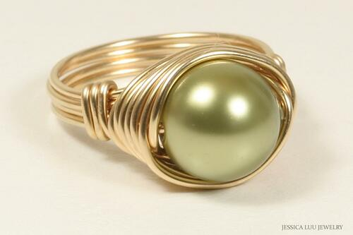 14K yellow gold filled wire wrapped large light olive green Swarovski pearl solitaire ring handmade by Jessica Luu Jewelry