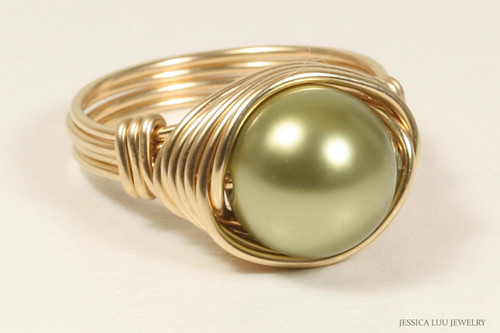 14K yellow gold filled wire wrapped large light olive green pearl solitaire ring handmade by Jessica Luu Jewelry