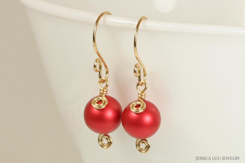 14k yellow gold filled wire wrapped large rouge red Swarovski pearl dangle earrings handmade by Jessica Luu Jewelry