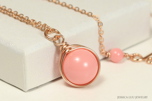 14K rose gold filled wire wrapped pink coral solitaire pendant on chain necklace handmade by Jessica Luu Jewelry