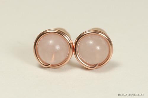 Rose gold wire wrapped rose quartz gemstone stud earrings handmade by Jessica Luu Jewelry