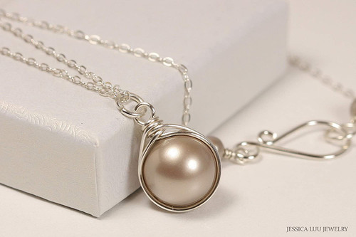 Sterling silver wire wrapped platinum pearl solitaire necklace handmade by Jessica Luu Jewelry