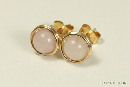 14K gold filled wire wrapped rose quartz gemstone stud earrings handmade by Jessica Luu Jewelry