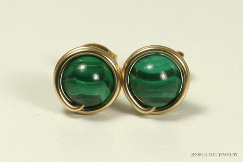 14K yellow gold filled wire wrapped malachite gemstone stud earrings handmade by Jessica Luu Jewelry