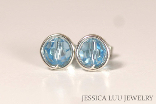Sterling Silver Aquamarine Swarovski Crystal Stud Earrings - Available in 2 Sizes and Other Metal Options