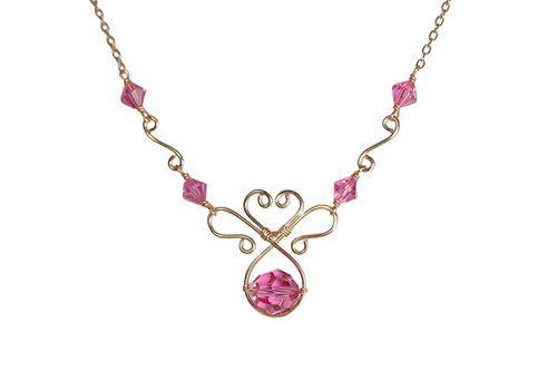 Rose Gold Pink Swarovski Crystal Necklace - Matching Earrings Available