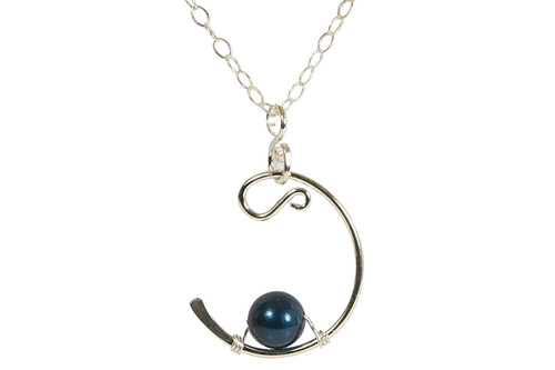 Sterling Silver Dark Blue Pearl Solitaire Necklace - Available with Matching Earrings