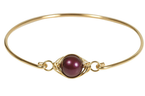 Gold Purple Pearl Bangle Bracelet - Other Metal Options Available