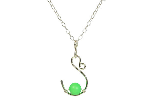 Sterling Silver Neon Green Necklace - Available with Matching Earrings