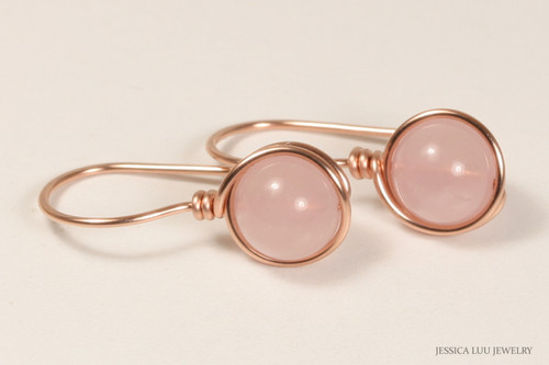 14K rose gold wire wrapped rose quartz gemstone earrings handmade by Jessica Luu Jewelry