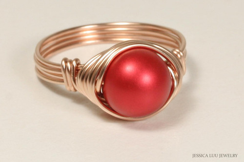 14K rose gold filled wire wrapped rouge red pearl solitaire ring handmade by Jessica Luu Jewelry
