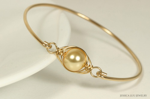 14K yellow gold filled wire wrapped pearl bangle bracelet handmade by Jessica Luu Jewelry