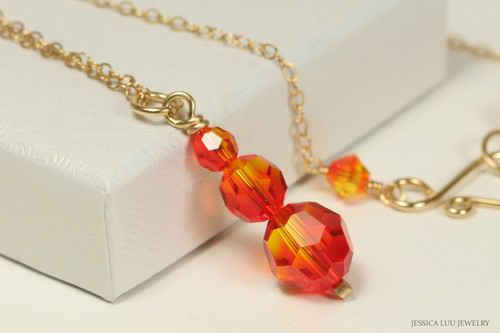 14K yellow gold filled wire wrapped fire opal orange red Swarovski crystal pendant on chain necklace handmade by Jessica Luu Jewelry