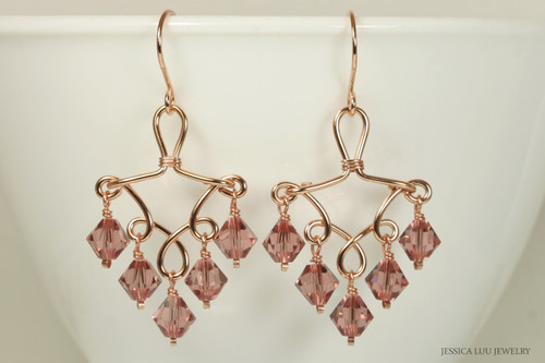 14K rose gold filled wire wrapped blush rose pink crystal chandelier earrings handmade by Jessica Luu Jewelry