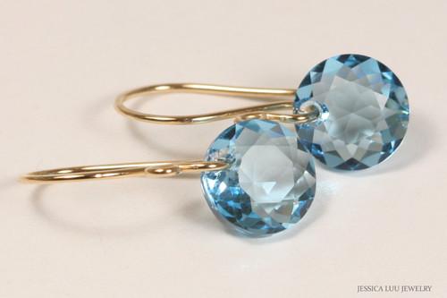 14K yellow gold filled aquamarine blue Swarovski crystal dangle earrings handmade by Jessica Luu Jewelry